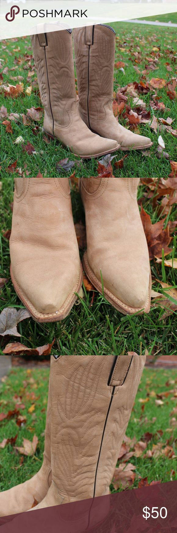 Steeve Madden Cowboy Boots Steve Madden. Tan cowboy boots. Size 7M. All Leather (details in 4th photo) EXCELLENT CONDITION :) Steve Madden Shoes Ankle Boots & Booties