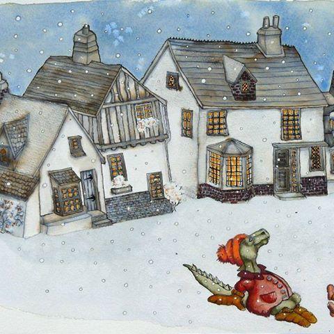 #winter #snowing #cottages #village #monster #kidsillustration #childrensillustration #childrenstories #illustrator #illustration #painting #kidlitart #naïveart #artenaif