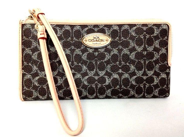 COACH Wristlet Wallet Pocketbook Handbag Small Zip 52997 Saddle Brown Authentic #Coach #Wristlet