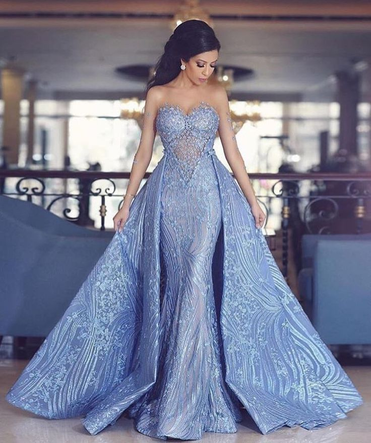 0acc4501481f Mermaid Sweetheart Detachable Train Blue Prom Dress with Appliques