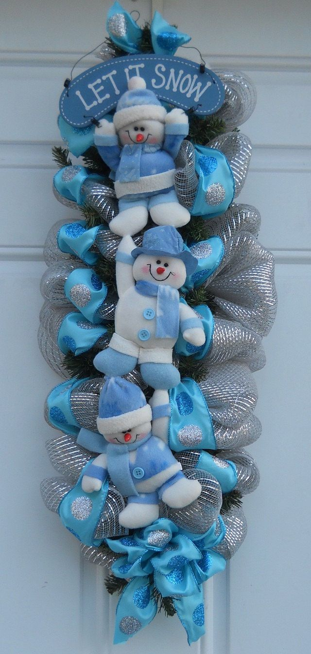 Whimsical Silver Mesh Let It Snow Snowman Figurine Door Swag