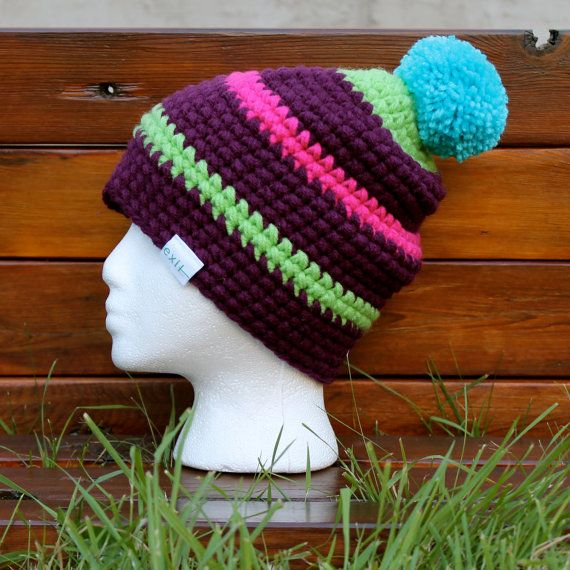 Multicolor Winter Beanie, Purple Slouchy Hat, Striped Beanie Hat with Pom Pom  - Thick, Warm, Colourful, Awesome :) on Etsy, $40.00 CAD