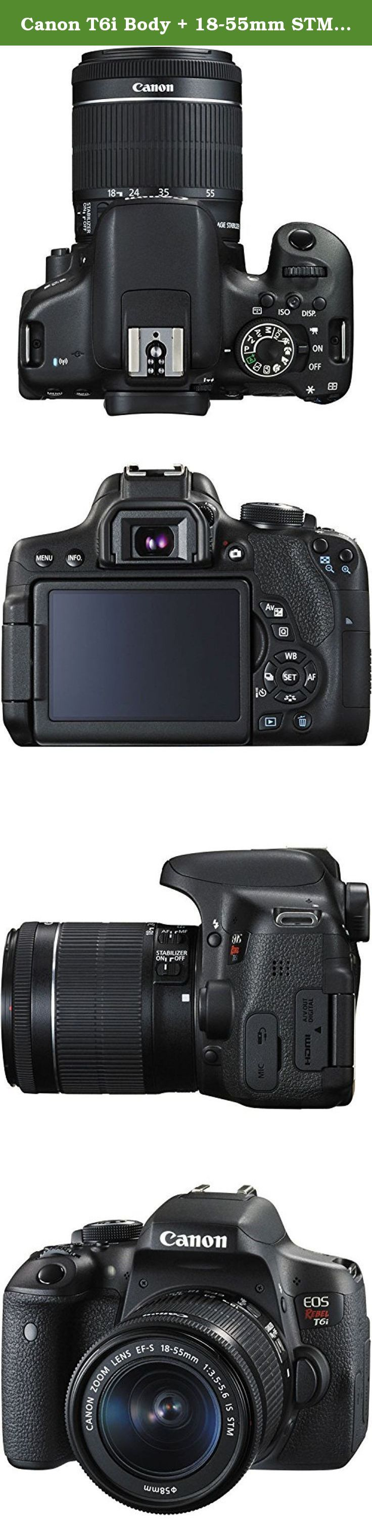 Canon T6i Body + 18-55mm STM & 55-250mm STM Zoom Lenses, Wide Angle, Telephoto Lens, Pro Case and Tripod, Memory Card & more. Packing a high resolution 24.2-megapixel CMOS sensor and the DIGIC 6 Image Processor into a compact body is the EOS Rebel T6i DSLR Camera with 18-55mm Lens from Canon, which includes a versatile standard zoom lens useful for stills and video. This system enables shooting in a wide variety of conditions, from bright sunlight to dim indoor scenarios due to ISO...