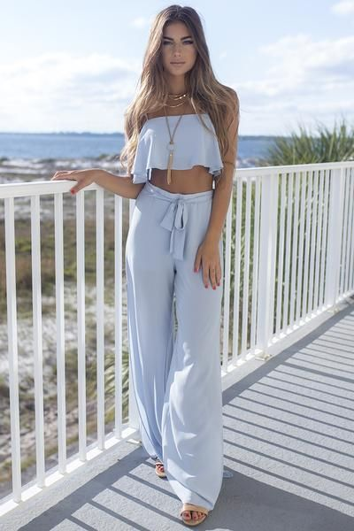 Khaki set features a crop top and long pants. The crop top features thin straps, a flowy fit, allover print, and lining The long pants features allover print, a(Diy Ropa Crop Top)
