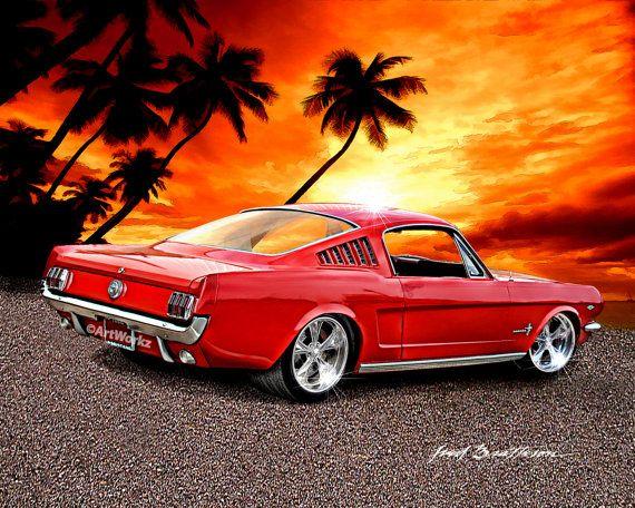 Hot Rod Art – 1965 Ford Mustang Fastback – Classic Car – Sports Car – 8×10 Print w/ 11 x 14 Mat-A75