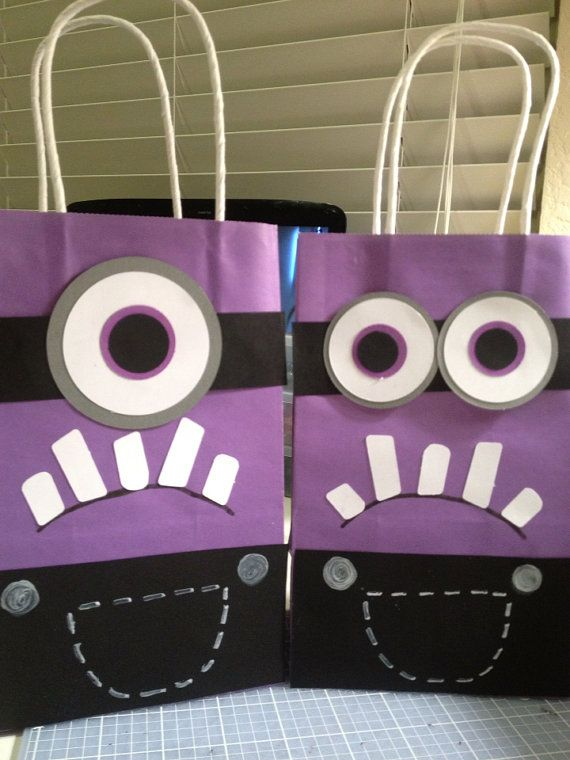 Despicable Me Minion Favor Bags loot bags kids birthday party purple minions