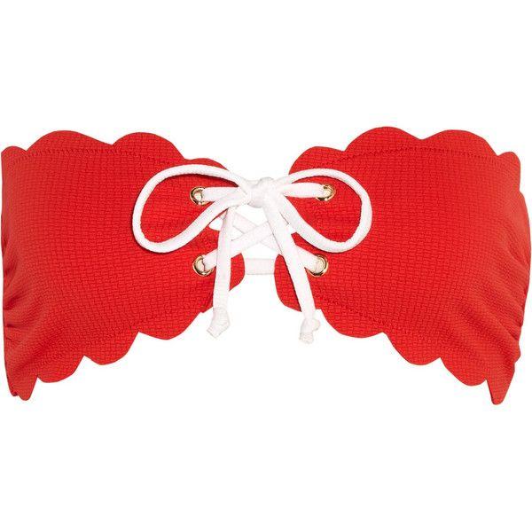 Marysia Antibes scalloped bandeau bikini top (€180) ❤ liked on Polyvore featuring swimwear, bikinis, bikini tops, red, red bikini top, scalloped bikini top, two piece bikini, bikini swimwear and red bikini swimwear