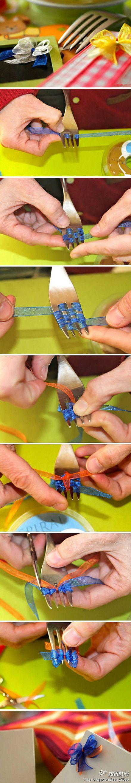 hacer lazos con un tenedor