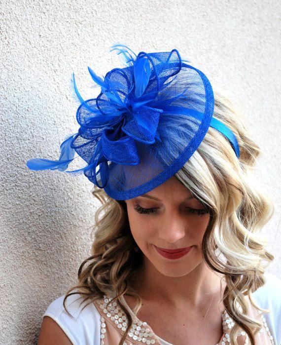 Royal Blue Fascinator Tea Party Hat Church Derby Fancy