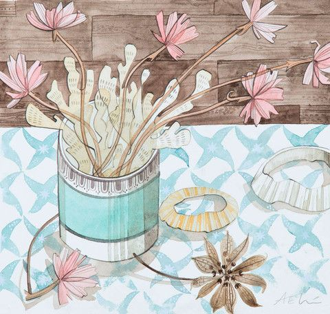 Small pot of seaweed and thrift, original watercolour drawing, by Angie Lewin.