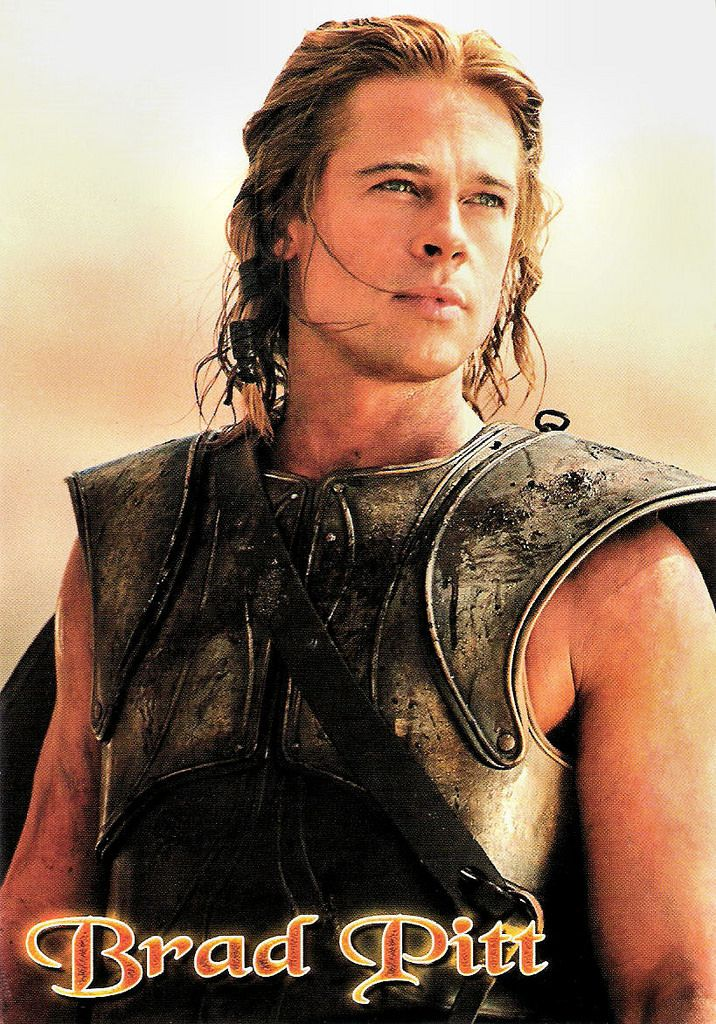 https://flic.kr/p/Q812RH | Brad Pitt in Troy (2004) | Italian postcard by EdiBas S.r.l., Torino, no. Pc 1.338. Photo: Grazia Neri. Publicity still for Troy (Wolfgang Petersen, 2004).  Attractive American actor and producer Brad Pitt (1963) has received multiple awards and nominations including an Academy Award as producer under his own company Plan B Entertainment. Pitt wildly varies his film choices, appearing in everything from high-concept popcorn flicks such as Troy (2004) to…