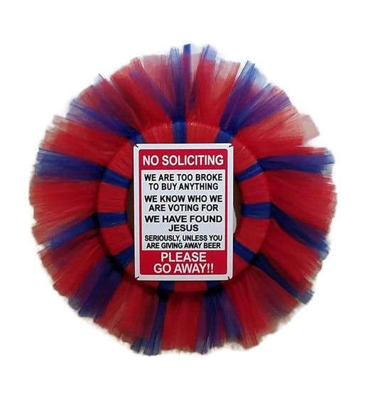 "Tired of those pesky solicitors interrupting your only day off, or waking up your sleeping baby? Solve that problem with a lovely no soliciting wreath! This wreath measures 32""x32"" , made with red and blue tulle and finished off with a red and white weather resistant sign. Mother's & Father's Day are coming up and these would make great gifts for anyone with a sense of humor!  Need a smaller wreath? Contact me and I will make you a custom wreath that is all your own! Prices will vary base..."