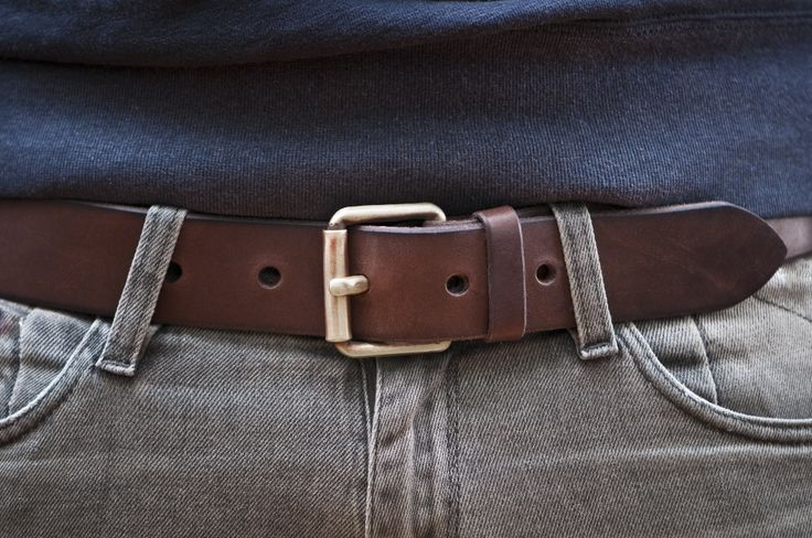 www.877workshop.com — Men's Navy belt brown leather with brass buckle