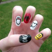 5SOS Nail Art, 5 Seconds Of Summer False, Fake, Acrylic, Press On, Hand Painted Nails