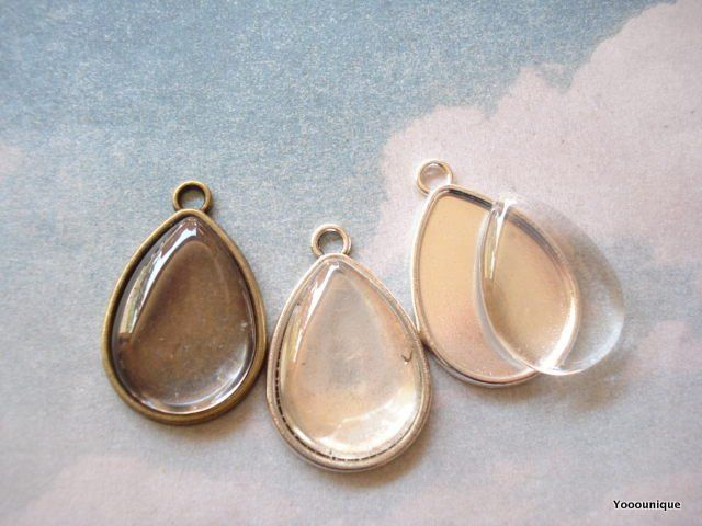 10 Tear Cameo Base Antiqued Bronze / Antiqued Silver /Antiqued Bright Silver 25x18 mm B1259 by yooounique on Etsy