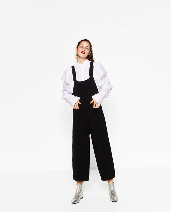 Image 1 of CROPPED DUNGAREES from Zara
