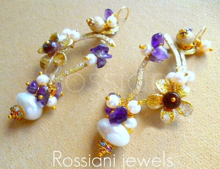 Violed pearl, Colors line - mixed pearls, amethist - Rossiani Jewels - Italian handmade jewels - Made in Italy