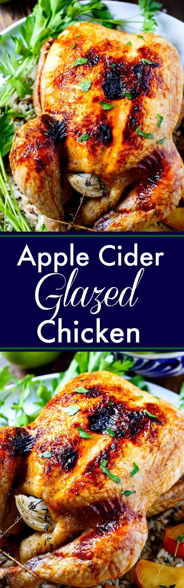 Apple Cider Glazed Roasted Chicken- fall comfort food.