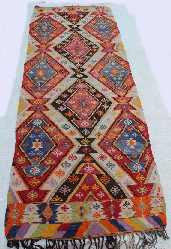 "Faded colors rug kilim, faded red green blue color kilim rug, Vintage Turkish large Kilim Rug Kelim Area Rugs big Kilim 13'x4'5"" / 397x135cm"