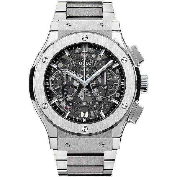 Hublot Classic Fusion Aerofusion Chronograph 45mm 525.nx.0170.nx Watch (15,640 CAD) ❤ liked on Polyvore featuring men's fashion, men's jewelry, men's watches, titanium, hublot mens watches, mens titanium watches, mens diamond bezel watches and mens chronograph watches