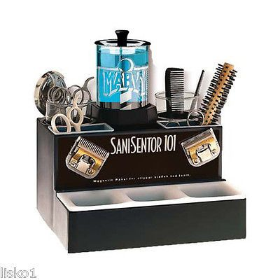 BARBER SHOP SANI-SENTOR 101 SANITIZER UNIT FOR COMBS, RAZORS, SCISSORS Combines wet sanitizing and dry implement storage with magnetic panel for easy storage of clipper blades, tweezers, shears, etc.
