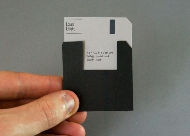 Unique Business card that looks like an old computer disk - designed by Luke Elliott