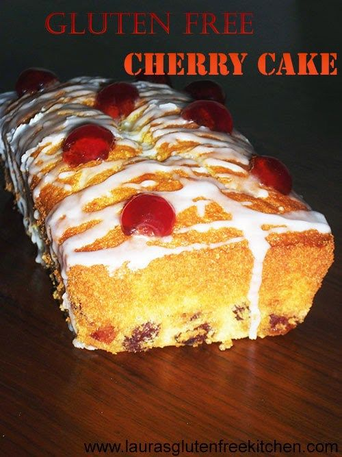 Gluten free Cherry Cake --- Cherry Cake is a old fashioned tea time treat. This cake looks great served the way it is but i like to drizzle mine with a Delicious glace icing and glace cherry halves.