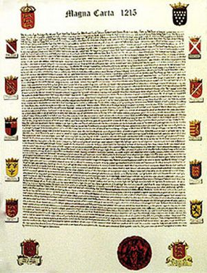 King John of England in 1215 was forced to recognize feudal rights in the Magna Carta.