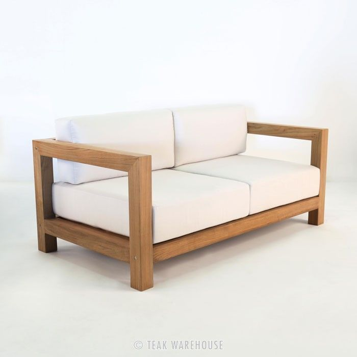 a clean teak outdoor sofa with gorgeous comfortable sunbrella cushions the ibiza outdoor sofa is made with agrade teak in a style that