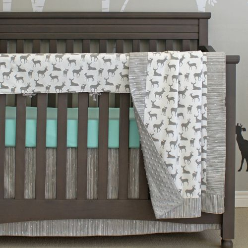 Sweet Kyla - GREY DEER Crib Bedding Set with Crib Rail Protector (PREMIUM), $225.99 (http://www.sweetkyla.com/grey-deer-crib-bedding-set-with-crib-rail-protector-premium/)