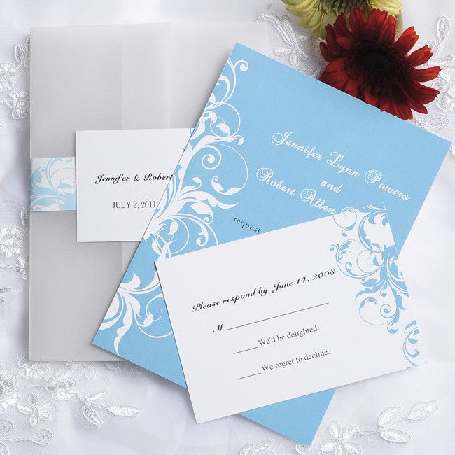 So excited about our wedding invitations!  Just ordered them last night! -vintage light blue damask pocket wedding invitations