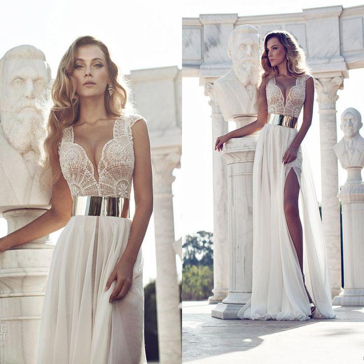 Sexy Deep V-Neck Embroidery Beaded Gold Metal Belt Chiffon Wedding Dresses  2015 Brand Bride Dress Multi Color