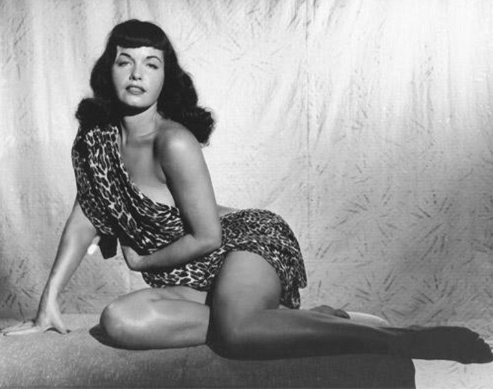 The very first time Bunny Yeager photographed Bettie. That was Bettie's personal leopard print robe she brought with her to the photoshoot. 1954.