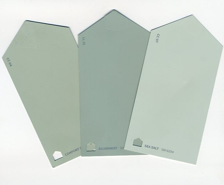 Seasalt (far right):  current, interesting neutral that replaces standard beige.  blue/green/gray paint colors by sherwin williams