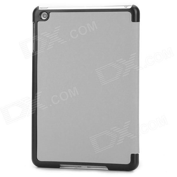 Brand: N/A; Quantity: 1 Piece; Color: Grey; Material: PU leather; Compatible Models: Ipad MINI; Auto Wake-up / Sleep: YES; Other Features: The cover can be transformed into a cool stand ideal for watching videos playing games etc; Protects your device from scratches dust and shock; With case wakes up or make your Ipad goes to sleep by open or close it; Packing List: 1 x Protective case; http://j.mp/1ljGTz2