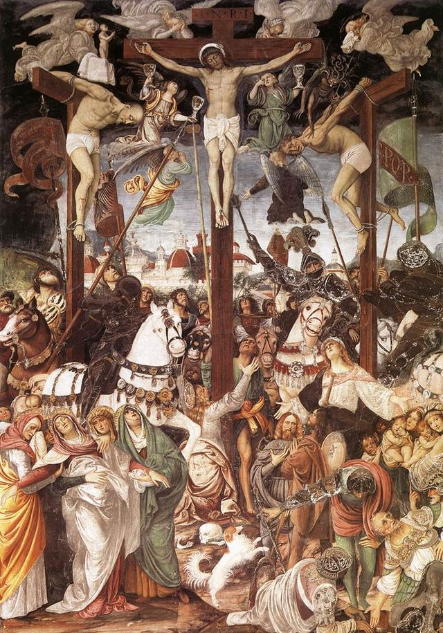 """Crucifixion"".  (1513).  Afresco. (by Gaudenzio Ferrari)."