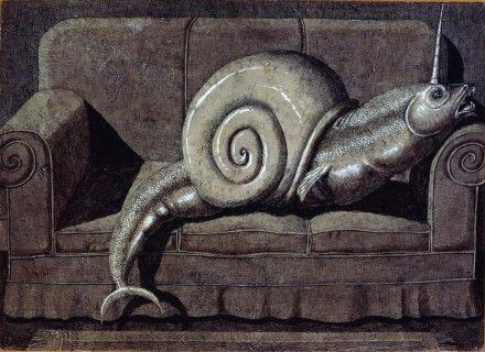 ¿Qué es un monstruo?  Caracol en el sofá - Domenico Gnoli