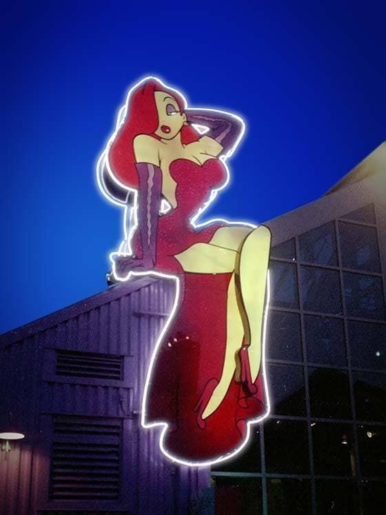 Jessica's of Hollywood was a lingerie store at Disney's Pleasure Island named for Jessica Rabbit of Who Framed Roger Rabbit. The store closed in 1992, but the neon sign with the swinging leg was used on the Planet Hollywood sign until 1996.