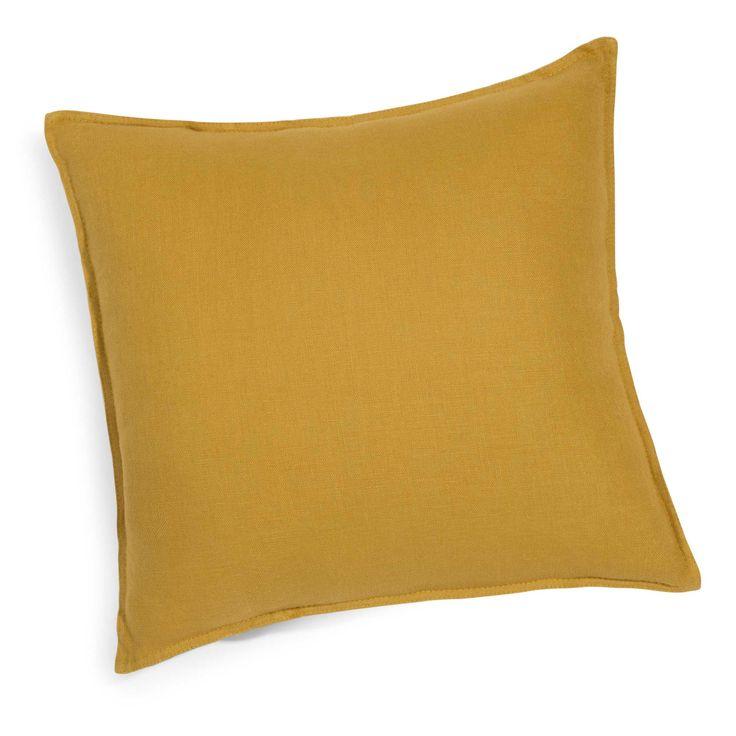 Cuscino in lino slavato giallo senape 60 x 60 cm | Maisons du Monde