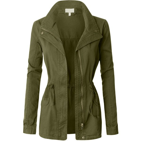 LE3NO Womens Military Anorak Jacket (£29) ❤ liked on Polyvore featuring outerwear, jackets, coats, green anorak, fashion military jacket, anorak coat, green military style jacket and anorak jacket