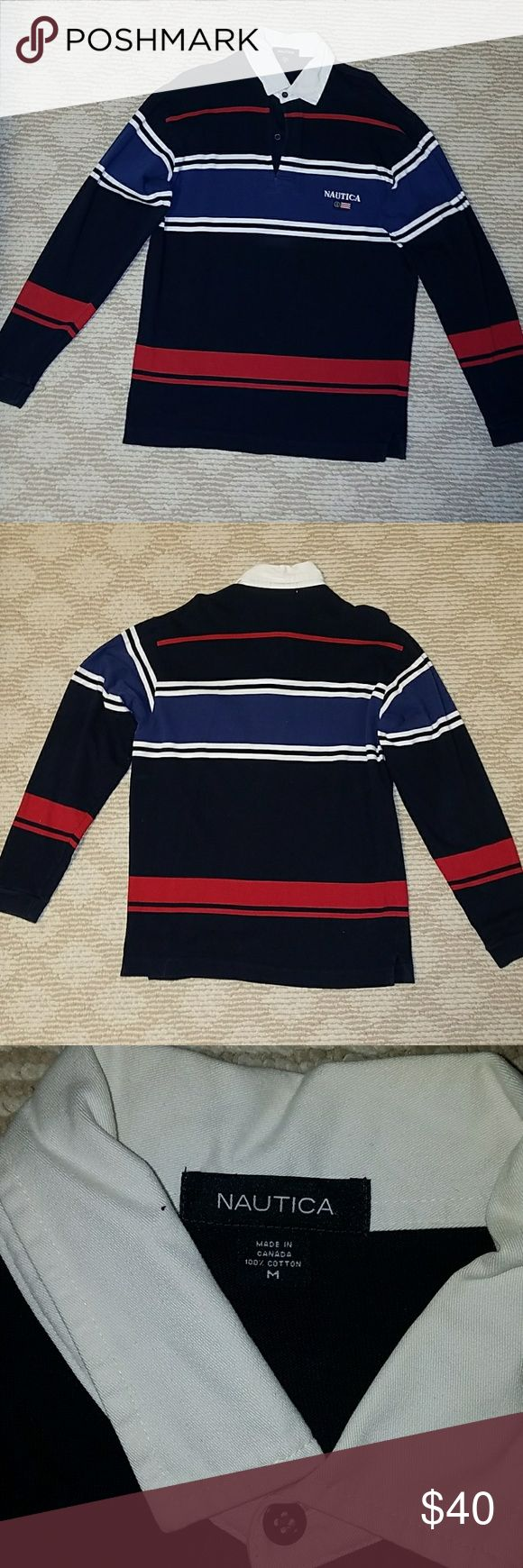 Nautica Mens Long Sleeve Polo Nautica Brand Mens Size L Dark Blue Polo with red and white stripes Very Good Condition Nautica Jackets & Coats Vests