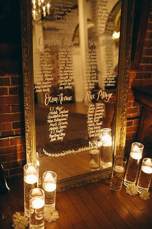 Intimate, Romantic Los Angeles Wedding, Mirror Seating Chart