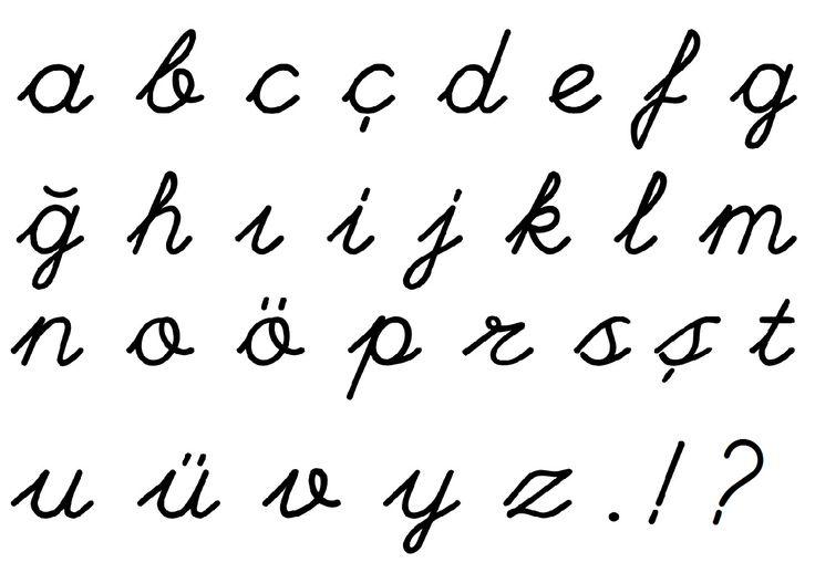 el yazısı harfleri, ilkokul el yazısı, turkish hand writing