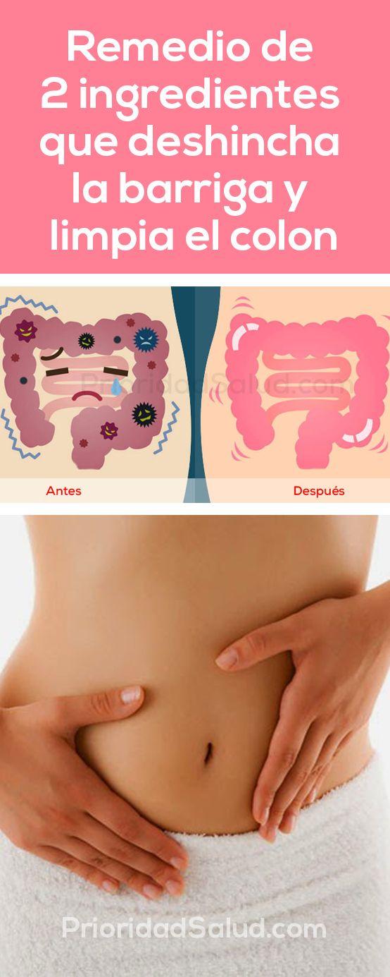 Remedio de 2 ingredientes de que deshincha la barriga y limpia el colon, elimina los desechos y las toxinas.