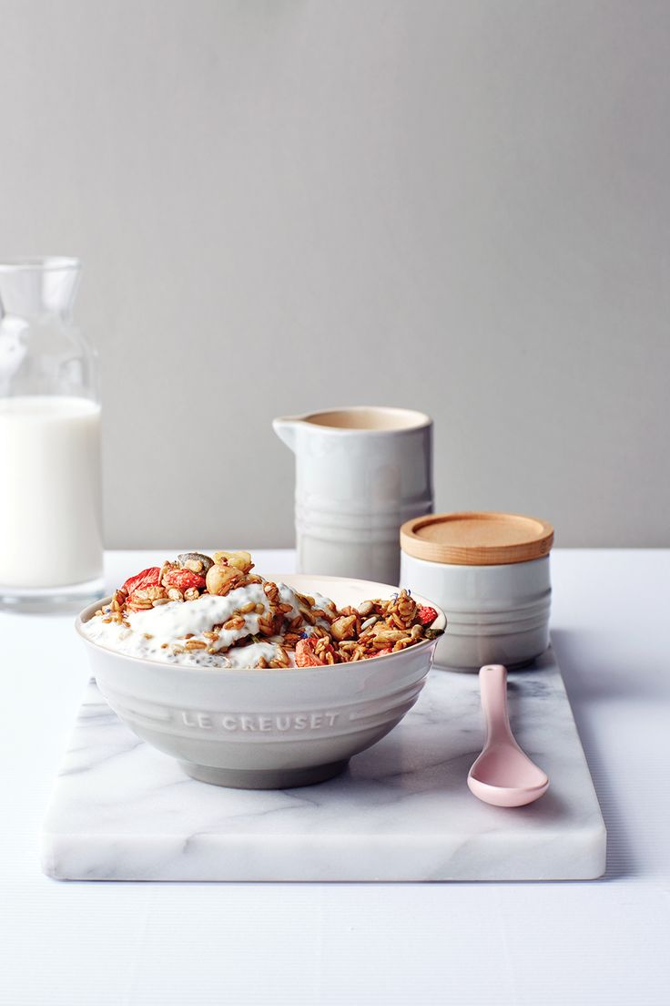 Le Creuset Mist Grey (Recipe: Baked Muesli and Chia Yoghurt)