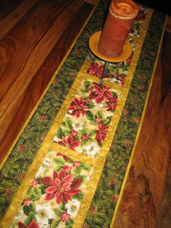 Christmas Table Runner Red Poinsettias White by TahoeQuilts, $60.00