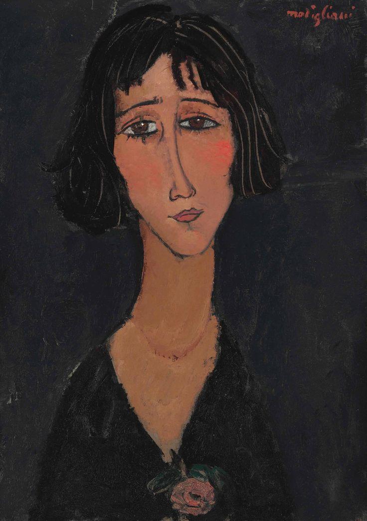 lawrenceleemagnuson:  Amedeo Modigliani (1884-1920) Jeune femme à la rose (Margherita) 1916oil on canvas 64.9 x 46.1 cm