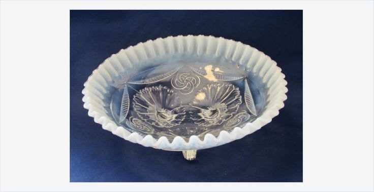 Ruffles and Rings #Opalescent 3 Toed Bowl #Northwood #EAPG #antique #gotvintage
