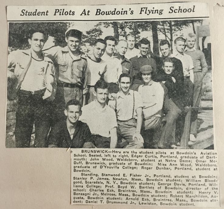 Omer R McDuff - Pilot Training Program - Bowden College, Brunswick, Maine (1941) - After graduation joined US Army Air Corps and then trained with the British RAF.  Captain McDuff flew Spitfires in WWII. (Middle Front Row)