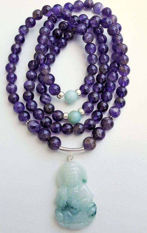 Purple and green are always a great combo.  This piece hits the mark.    108 Stone Amethyst Mala with Jade Buddha by beadonawiredotca, $55.00